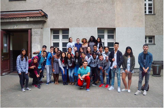 A picture of Gabby with her group in Berlin.